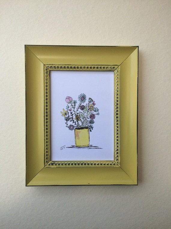 Print of my oringinal paint on paper size 13*18 CM. Vase Of Flowers. art paper, art, wall art. home decor.