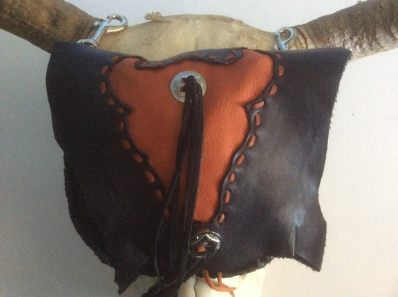 Leather Hip Bag Cowhide Hip Bag Black Leather