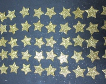 50 x 2cm Gold or Silver Glitter Star die cuts