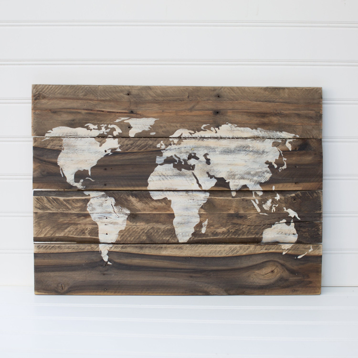 Reclaimed Wood Signs: World Map Rustic Wooden Sign Made From Reclaimed Pallet Wood
