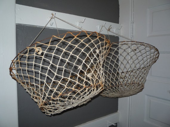 Two vintage wire fish baskets collapsible fishing by for Fish wire basket