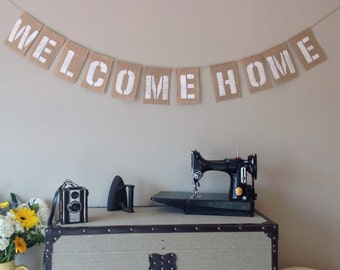 WELCOME HOME Vintage Bunting Banner. Hessian Burlap Rustic