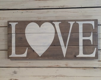 LOVE hand painted rustic wood sign