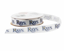 Offray MLB Tampa Bay Rays Fabric Ribbon, 5/8-Inch by 9-Feet, White/Blue