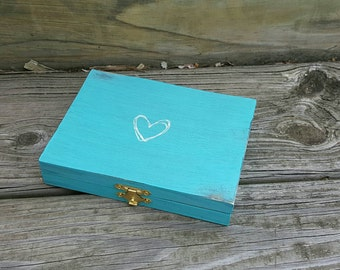 Ring Bearer Box (ANY COLOR) - Rustic Wooden Box - Rustic box -Personalized Wedding Ring Box