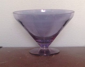 Seventies Amethyst Glass Bowl  Glass Bowl  Amethyst Bowl  Purple Glass  Vintage Centrepiece