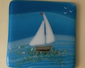 Fused Glass Sail Boat Coaster / Mug Mat