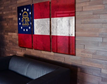 Triptych Georgia State Flag hanging Rustic Worn Metal Wall Art Grunge