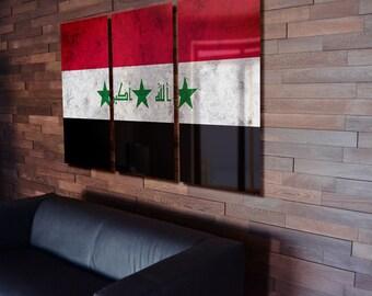 Triptych Iraq Flag hanging Rustic Worn Metal Wall Art Grunge