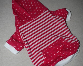 Dog Hoodie, Pink & White Stripes, Polka Dots and Bows