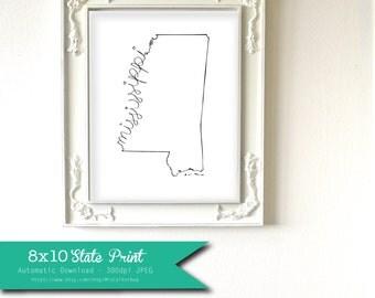 Printable Mississippi State Art Print 8x10 Digital Wall Art Gift