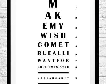 All I Want For Christmas Is You Eye Chart - Mariah Carey Minimalist Poster Print - Original Home Decor, Wall Art, Gift Idea