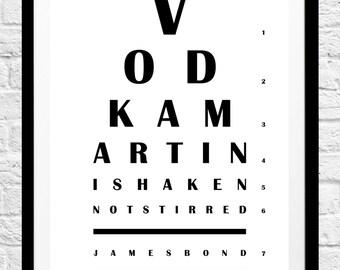 James Bond 'Vodka Martini Shaken Not Stirred' Movie Quote- Minimalist Film Poster, Typography Print- Wall Art, Home Decor, Gift Idea