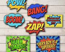 Superhero Birthday Pack, BOY Comic Book Birthday Party, BOY Superhero Printables, Boy Superhero Printables, DIGITAL invitation