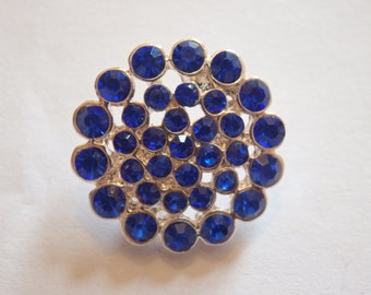 2 blue buttons diamante rhinestone crystal embellishment cluster sewing 20mm UK