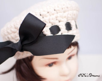 Child Crocheted Tam with Big Bow