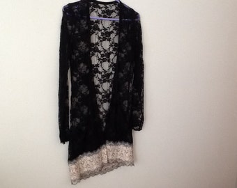 UPCYCLED, REFASHIONED, Shabby Chic, Boho, Romantic, Victorian, Lace Cardigan. Women's size small to medium.