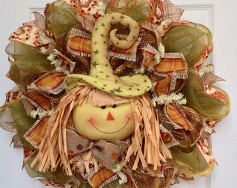 Adorable Straw Scarecrow Deco Mesh Harvest Or Halloween  Wreath