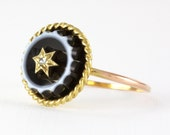Antique Banded Agate & Gold Star Set Diamond Ring - 15K Yellow Gold Victorian Carved Black Agate Mourning Ring