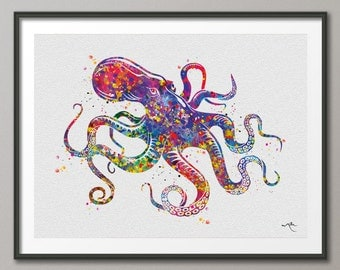 Octopus 5 Sea Life Watercolor illustrations Art Print Coastal Art Wall Art Poster Giclee Wall Decor Art Home Decor Wall Hanging [NO 489]
