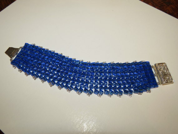 Blue Miyuki Herringbone beaded cuff with beautiful silver tone closure!