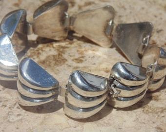 Fred Davis ~ Signed Silver Handmade Repousse Bracelet