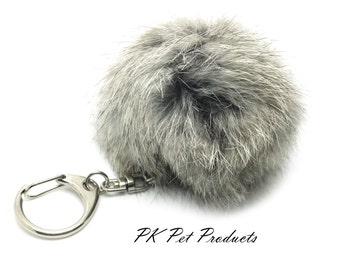 Rabbit Fur Pom Pom Key Chain Natural Gray-Free Shipping