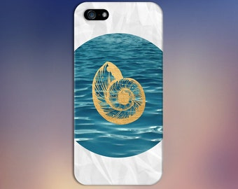 Gold Nautilus Sea Shell x Blue Waves Case for iPhone 6 6 Plus iPhone 7  Samsung Galaxy  & s7 and Note 5  S8 Plus Phone Case, Google Pixel