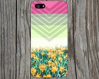 Hot Pink x Mint Chevron Daffodils Design Case for iPhone 6 6 Plus iPhone 7  Samsung Galaxy s8 edge s6 and Note 5  S8 Plus Phone Case