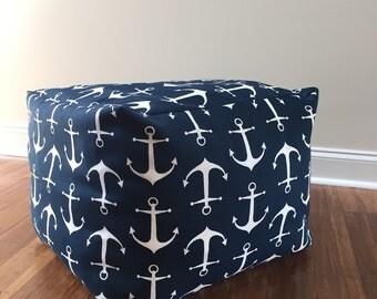 Anchor pouf cover, 16x16x14 inch pouf cover, Pouf, Square floor pouf, Pouf Floor Pillow, Patio Pouf