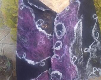 Felt Shawl,Woman Wool Fiber Art,Wrap,Nuno Felt Shawl,Felt Wrap Shawl,Picture Shawl,Felt Capelet,Nuno Felt Capelet,Handmade