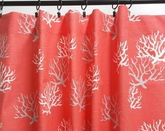 Red Curtains coral colored curtains : Coral curtains   Etsy