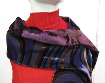 OOAK Striped Velvet Scarf