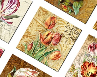 Digital Collage Sheet  Vintage Flowers 1 inch square Scrapbooking Pendants Printable Original  Printable 4x6 inch sheet