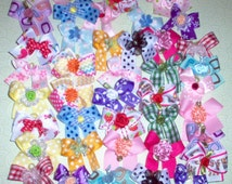 Small Dog Bows 40 Decorated Top quality ribbons Dog Grooming Bows