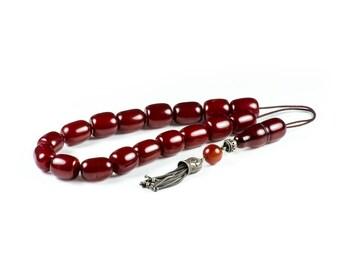 Antique Cherry Faturan Bakelite  Worry Beads Greek Komboloi 925 | 17+1 925 22x16mm Authentic Bakelite Faturan Beads 96.4gr|Vingage