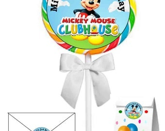 40 ~ Large Mickey Mouse Clubhouse Birthday Party Stickers ~ FREE SHIPPING  ~ 2 inches~great for lollipops, suckers, seals, goody bags, etc.