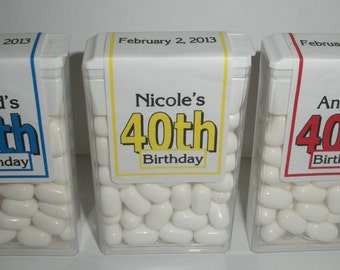 28 ~ 40th Birthday Party Favors Tic Tac Labels ~ Free Shipping