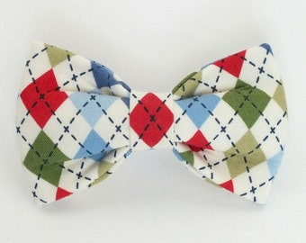 Argyle Dog Bow Tie, pet bow tie, collar bow tie, wedding bow tie