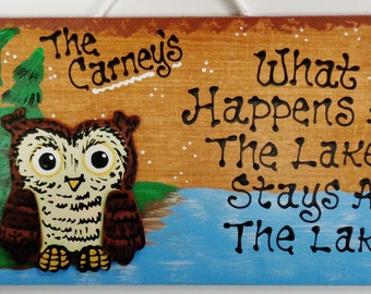 Owl LAKE What Happens/Stays SIGN Personalized Name Plaque Camping Camp Camper