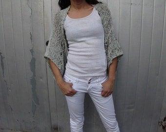 Light gray Shrug Summer knit Shrug Boho inspired shrug Loose knit cotton summer shrug Beach cover up