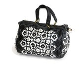 Black and White Leather Patchwork and Rhinestone accent Handbag Unique Purse Boho Chic Handbag Gifts for Her Colorful Purse