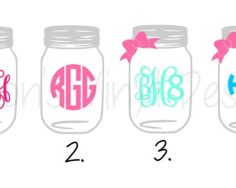 Monogrammed Mason Jar Vinyl Decal