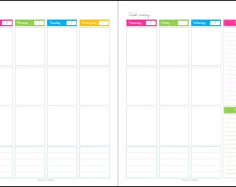 Calendar - Any year Unfilled (blank),1 week 2 page spread, Potrait, Printable Planner PDF, Daily Planner Pages, Instant Download