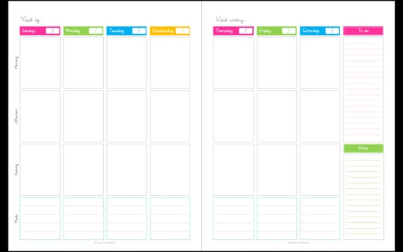 Calendar any year unfilled blank1 week 2 page spread for 2 page weekly calendar template
