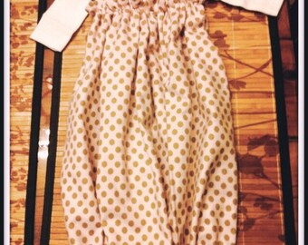 Pink and Brown Polka Dot Baby Gown