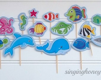 ocean cake toppers, sea life cake toppers, fish cake toppers, aquarium cake toppers, sea life birthday party, ocean birthday, ocean baby