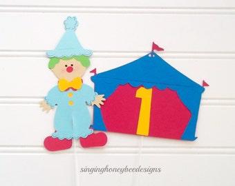Circus clown cake topper, Circus cake topper, clown smash cake, circus birthday, clown birthday, circus baby shower, clown baby shower