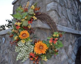 SALE Sunflower Wreath, Sunflower Pod Wreath, Sunflower Burlap Wreath, Italian Sunflower Wreath