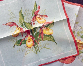 Vintage cotton floral handkerchiefs EmJoPe set of two
